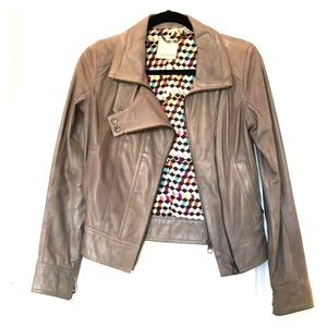 Ted Baker gray leather jacket size 1